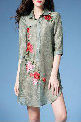 Peony Embroidered Shift Shirt Dress -