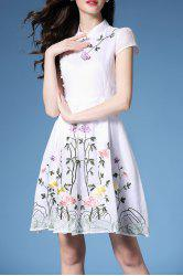 Mandarin Collar Embroidered Fit and Flare Dress -