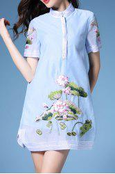 Stand Neck Flared Lotus Dress -