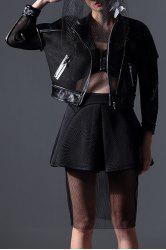 Faux Leather Panel Sheer Biker Jacket -