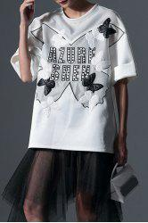 Studded Azure Shen Graphic Cuffed Tee -
