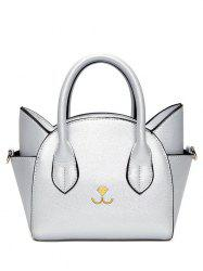 Charming Cat Shape and Solid Color Design Tote Bag For Women -