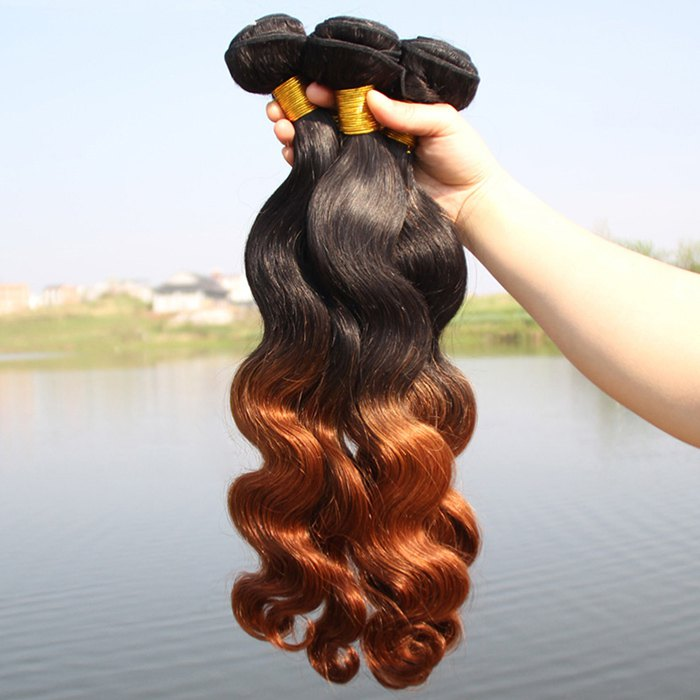 Fancy 1 Pcs 6A Virgin Hair Brazil Human Hair Ombre Body Wavy Weave For Women