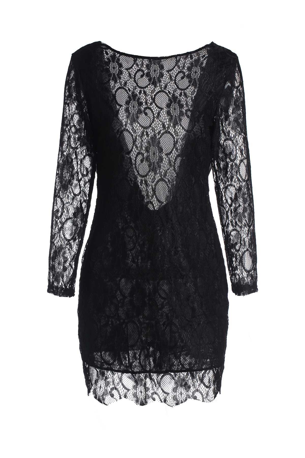 Outfits Lace Long Sleeve Backless Short Bodycon Dress