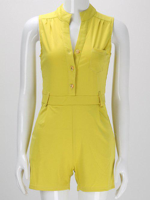 Trendy Sleeveless Buttoned Pocket Design Women's Romper от Rosegal.com INT