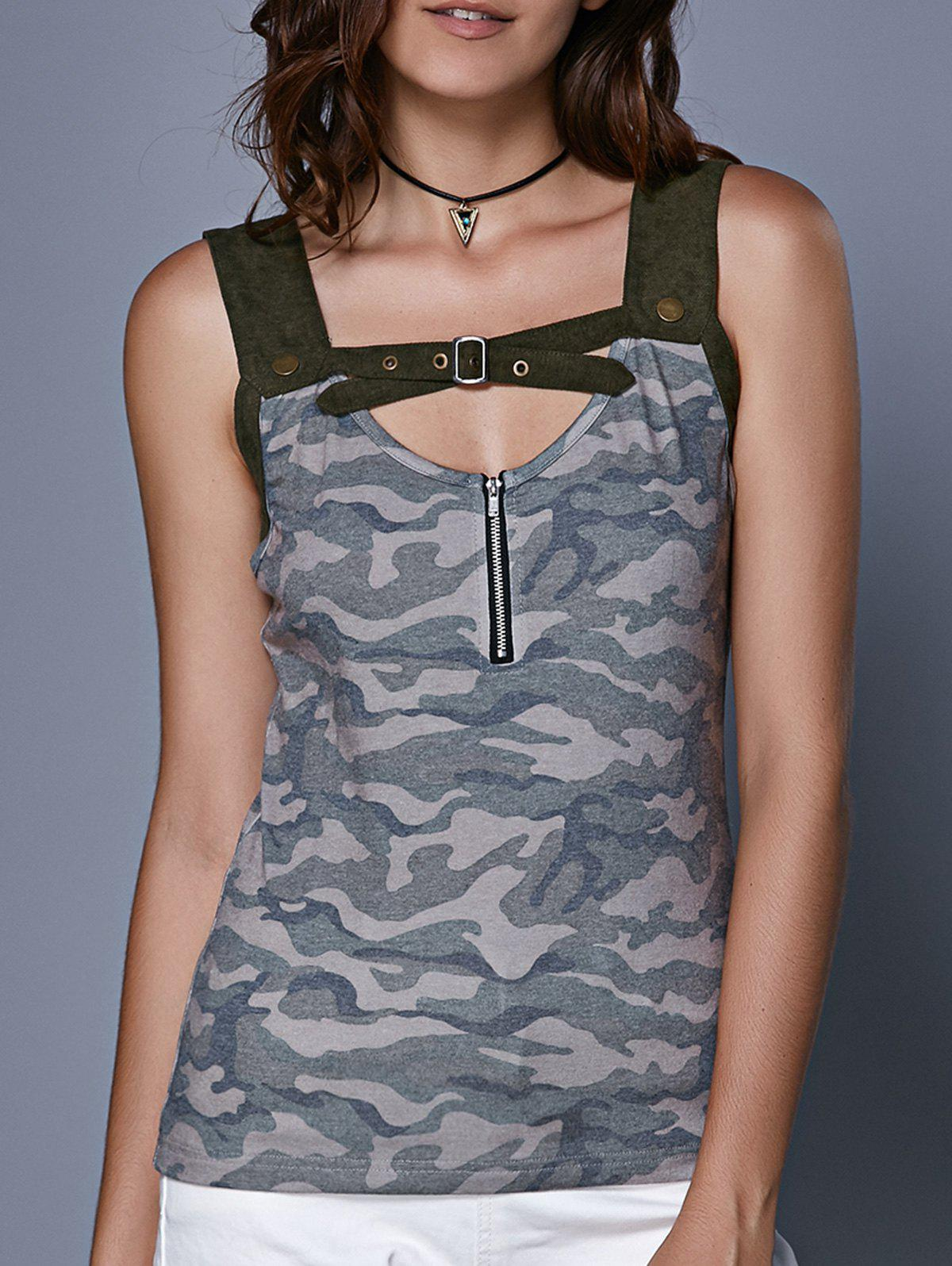 Chic Stylish Women's Camouflage Hollow Out Crop Top