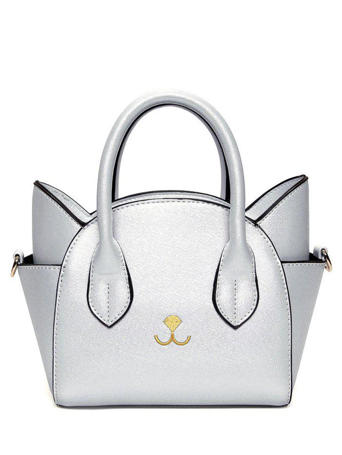 Outfit Charming Cat Shape and Solid Color Design Tote Bag For Women
