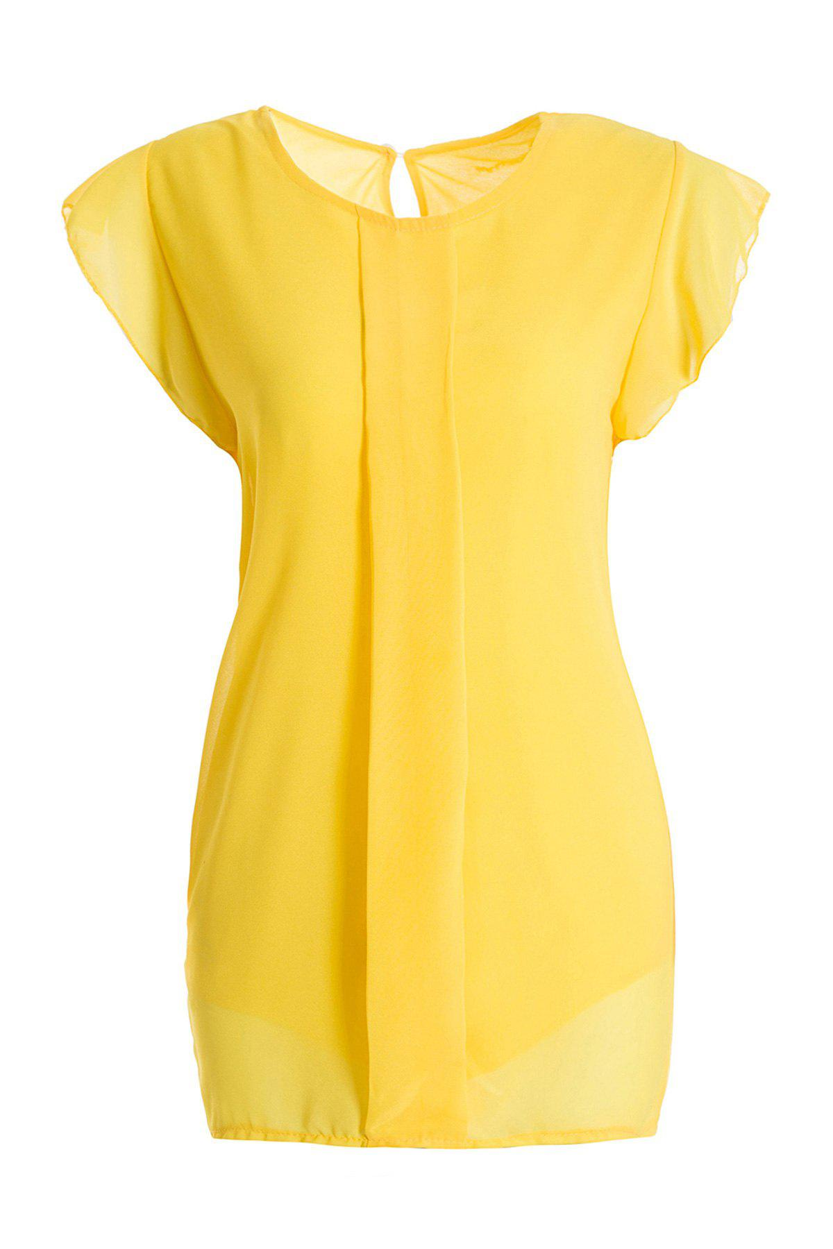 Sweet High-Low Hem Fly Sleeve Solid Color Womens Chiffon BlouseWOMEN<br><br>Size: ONE SIZE; Color: YELLOW; Style: Casual; Material: Polyester; Fabric Type: Chiffon; Shirt Length: Short; Sleeve Length: Short; Collar: Round Neck; Pattern Type: Solid; Embellishment: Pleated; Season: Summer; Weight: 0.180kg; Package Contents: 1 x Blouse;