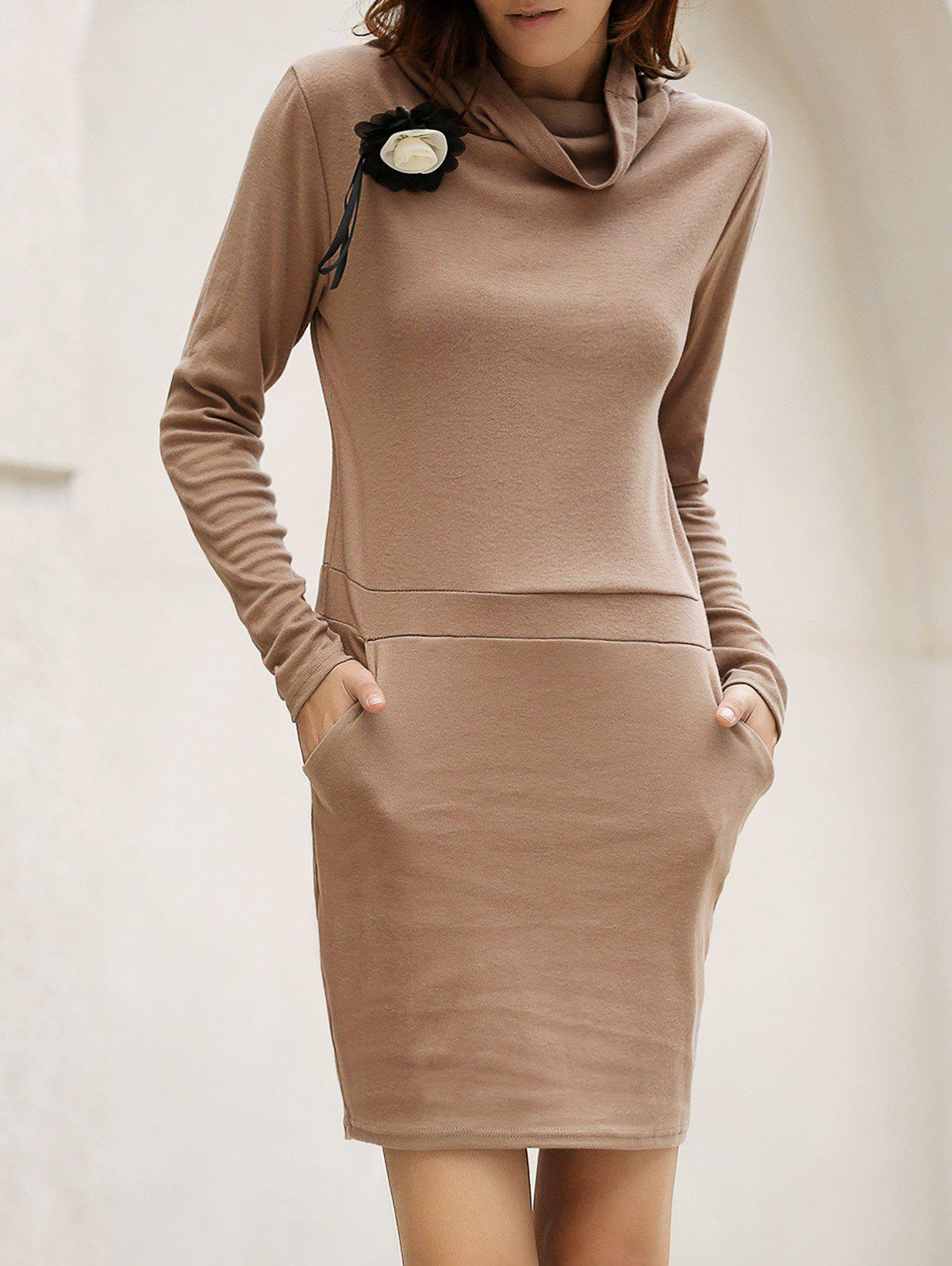 Discount Stylish Cowl Neck Long Sleeve Solid Color Women's Bodycon Dress