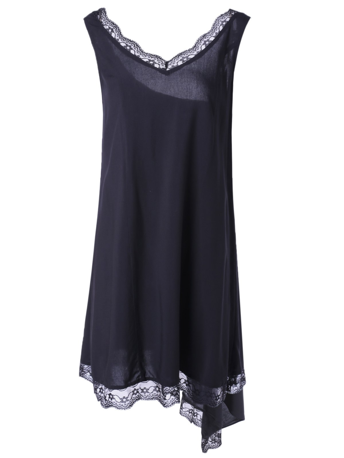 Fashionable V-Neck Sleevesless Asymmetric Lace Dress DRESSFO