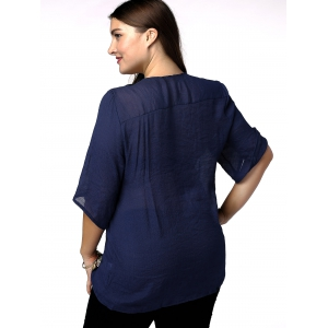 Casual Plus Size Flower Embroidered Spliced Women's Blouse -