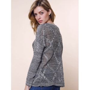 Hollow Out Long Sleeve Casual Style V-Neck Acrylic Women's Sweater - LIGHT GRAY ONE SIZE