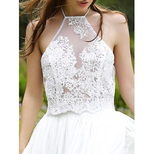 Halter Embroidery Lace Crop Tank Top - WHITE L