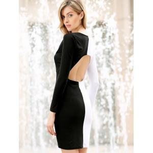 Long Sleeves Plunging Neck Off Breast Stitching Backless Packet Buttock Women's Cut Out Club Dress - BLACK OR WHITE S