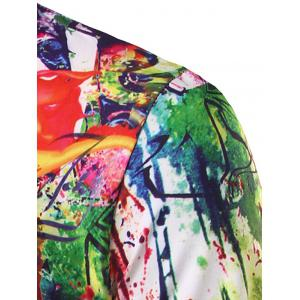 3D Abstract Printed Round Neck Short Sleeve T-Shirt For Men - COLORMIX 2XL