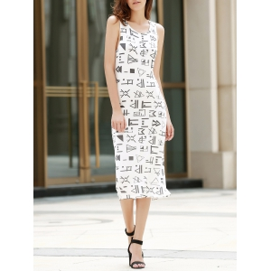Midi Geometric Hollow Out Tank Dress - White - L