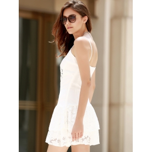 Lace Flounce Slip Club Dress -