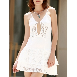Sexy Style Spaghetti Strap Solid Color Lace Splicing Openwork Sleeveless Dress For Women