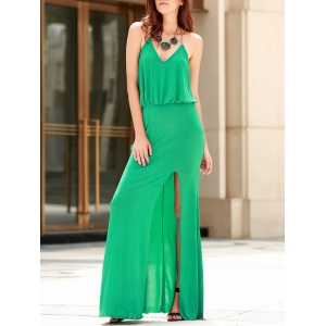 Maxi Blouson Metal Chain High Slit Dress