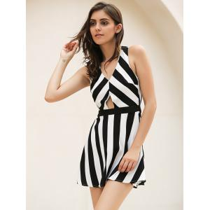 Vintage Striped Hollow Out Mini Dress -