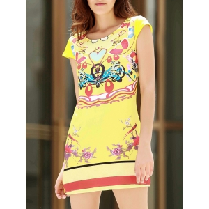 Stylish Scoop Neck Short Sleeve Print A-Line Women's Dress - Yellow - S