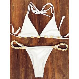 Halter Shell Strappy Bikini Set