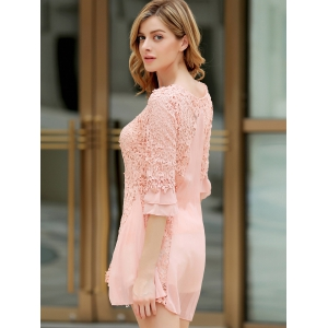 Sweet Round Collar Ruffled Hook Flower Hollow Out 3/4 Sleeves Women's Dress - PINK ONE SIZE