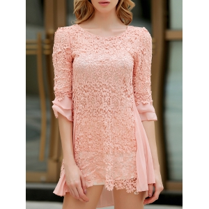 Sweet Round Collar Ruffled Hook Flower Hollow Out 3/4 Sleeves Women's Dress