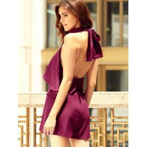 Trendy Halter Neck Sleeveless Solid Color Backless Flounced Romper For Women -