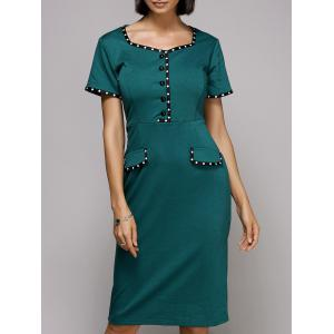 Sweetheart Neck Knee Length Pencil Work Dress