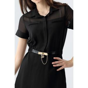 Elastic Waist Belted Mini Dress -