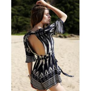 Fashion Plunging Neck 3/4 Sleeve Printed Romper For Women -
