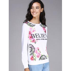 Refreshing Round Neck Long Sleeve Floral Print Women's Sweatshirt -