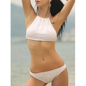 Sweet Halter Neck Solid Color Women's Bikini Set