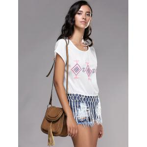 Fashionable Short Sleeve Embroidery Fringed Women's T-Shirt -