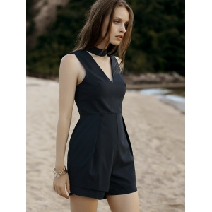 Alluring Deep V Neck Fitted Women's Romper -