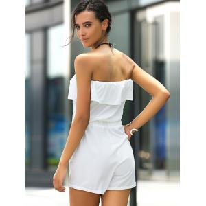 Stylish Strapless Ruffled Solid Color Romper For Women -