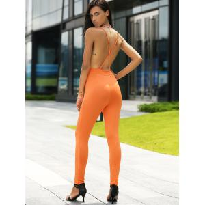 Stylish Plunging Neck Backless Jumpsuit For Women -