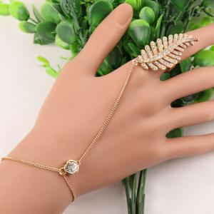 Statement Rhinestone Leaf Bracelet - Golden