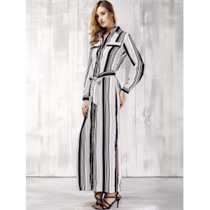 Long Sleeve High Slit Striped Maxi Shirt Dress -