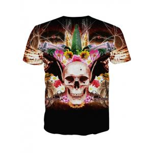 3D Personality Round Neck Skulls Floral Print Short Sleeve T-Shirt For Men - BLACK M