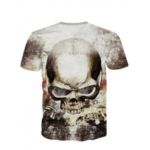 3D Personality Round Neck Skulls Printed Short Sleeve T-Shirt For Men - COLORMIX 2XL