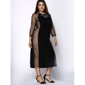 Stylish Plus Size Jewel Neck 3/4 Sleeve Mesh See-Through Dress For Women