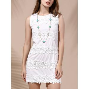 Endearing Sleeveless Lace Spliced White Dress For Women - White - M