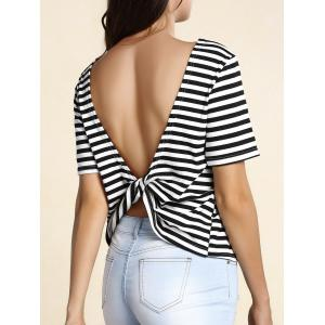 Trendy Striped Backless Twist T-Shirt For Women -