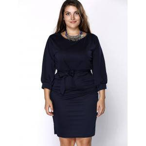 Stylish Scoop Neck Bow Decorated Solid Color Plus Size Skinny Dress For Women -