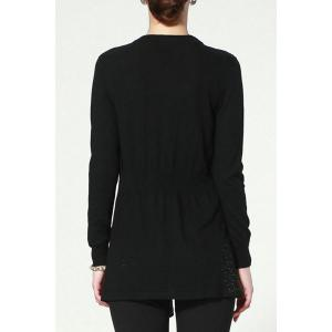 Long Sleeve Open Front Black Cardigan -