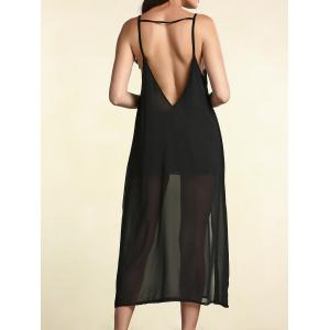 Open Back Chiffon Sheer Slip Dress