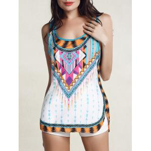 Fashionable Colorful Printed Scoop Neck Tank Top For Women -