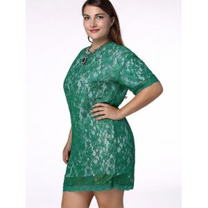 Sweet Plus Size Half Sleeve Lace Design Women's Dress -